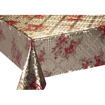 Mettalic Emboss printed Gold Silver Tablecloth