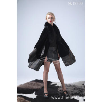 Short Lead Time for New Design Fur Coat Australia Merino Shearling Cape Coat export to Spain Manufacturer