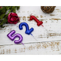 Multicolored 4cm Wide Metallic Number Candle