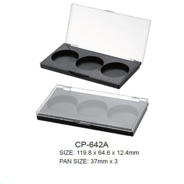 Square Eyeshadow Case with 3 round godets