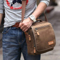 Custom Print Canvas Crossbody Mens Small Messenger Bag