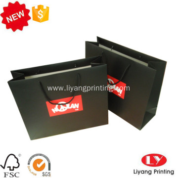 Black matte custom paper gift packaging bag