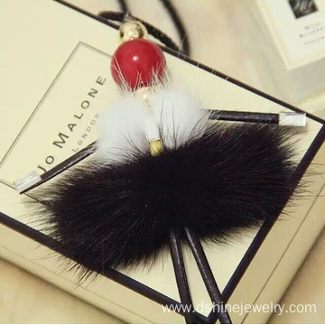 Customized for Fur Ball Necklace, Black Fur Ball Necklace, Korean Style Fur Ball Necklace leading supplier in China Dance Girl Long Sweater Chain Necklace POM POM Craft Choker supply to Liberia Factory