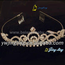Gold rhinestone tiara pageant crowns CR-677