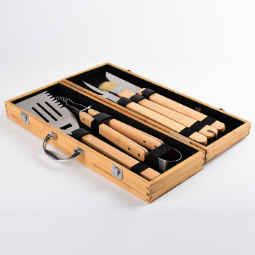 5pcs bamboo handle bbq tools set with case