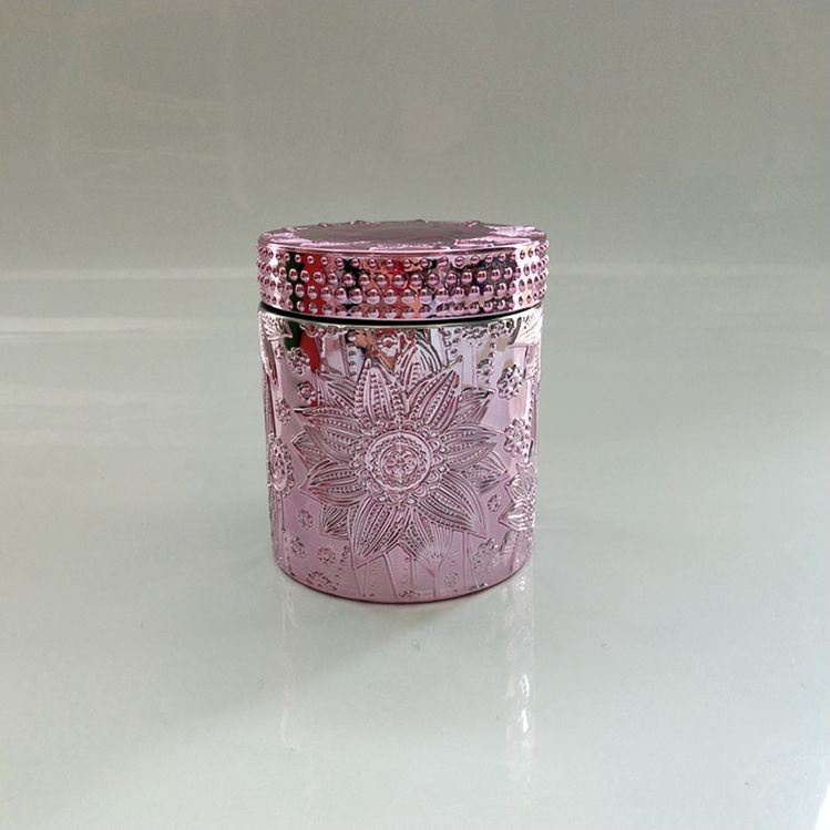 Br 1712 Beautiful Jar Hand Pressed Crystal Glass Container