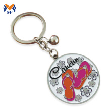 Custom metal round enamel keyring with bell