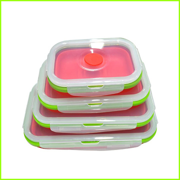 High Efficiency Factory for Silicone Folding Lunch Box Non-toxic Collapsible Silicone Lunch Box Set export to Netherlands Antilles Factory