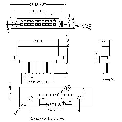 Vertical Female Type 0.33B Connectors 20 Positions