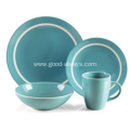 16 Piece Stoneware Dinner Set Teal Color With White Rim