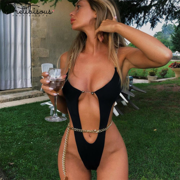 Women swim wear high cut out bathing suit