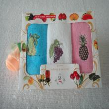 Embroidered Gift Set Hand Towels in Plain Colors