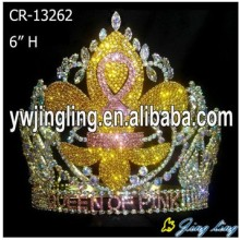 Custom Yellow Rhinestone silver plated flower king crowns
