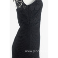Black 2 layer lace back less dress