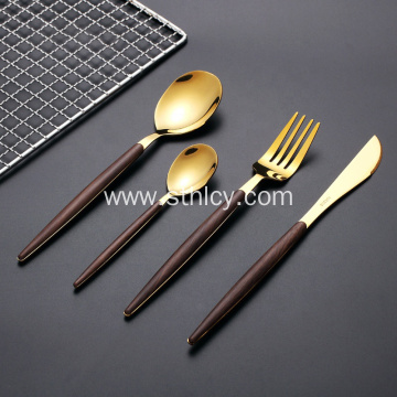 Plastic Wooden Handle Stainless Steel Reusable Cutlery Set