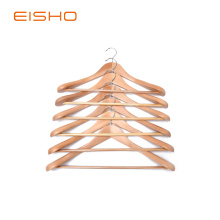 China for Wooden Shirt Hangers EISHO Quality Luxury Curved Wooden Suit Hangers export to Russian Federation Exporter