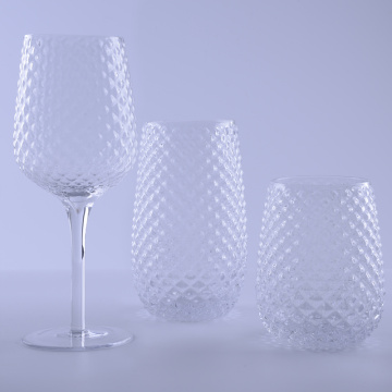 Clear Hobnail Highball Wine Glass Set