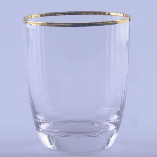 ribbed Stemless Wine Glass With Gold Rim