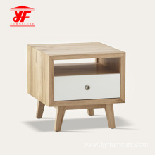Bedside Clear Nightstand Side Table Wooden With Drawers