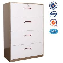 Lateral 4 drawer filing cabinet with colorful handle