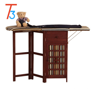 Eco-Friendly antique solid wood frame ironing board in cabinet