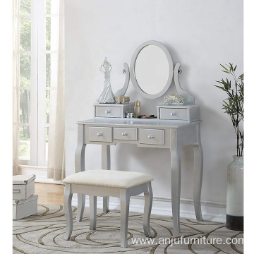 Silver Wood Makeup Vanity dressing Table and Stool Set