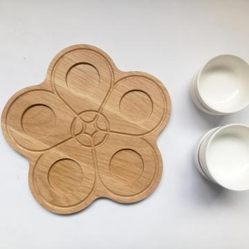 Round wooden food tray with ceramic set
