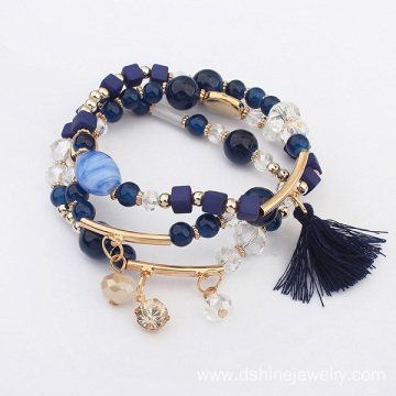 ODM for Supplier of Tassel Bracelet, Gold Tassel Bracelet, Diy Tassel Bracelet in China Crystal Beaded Bracelet Rhinestone Pendant Tassel Bracelet supply to Chile Factory