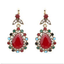 Vintage Retro Gold Red Ethnic Earrings Women