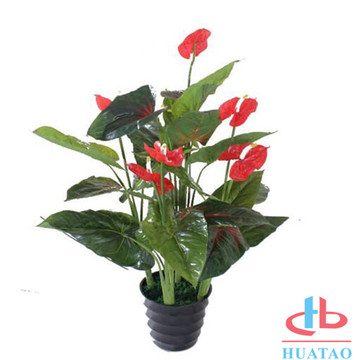 Indoor Beautiful Plastic Artificial Flower Potted Decor