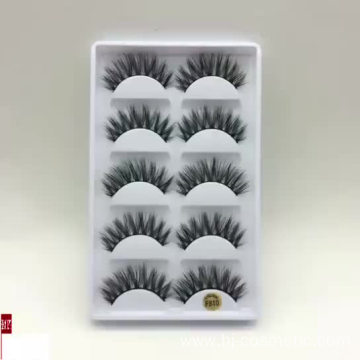 Beauty eyelashes natural long thick false eyelashes wholesale 5 pairs 3D fake mink eyelashes