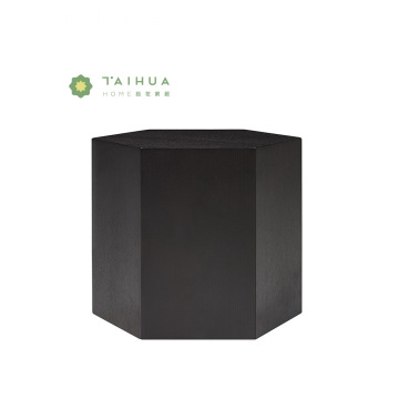 Black Hexagon Veneer Side Table with Lacquer