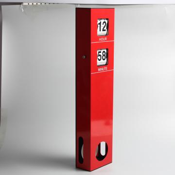 Long Wall Flip Clock with Pendulum Red