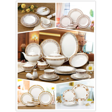 New bone china tableware golden pattern