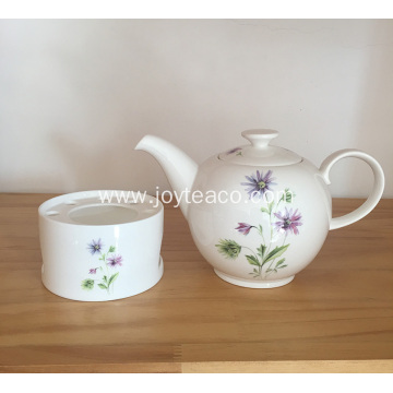 White Ceramic Teapot and Tealight Holder Set