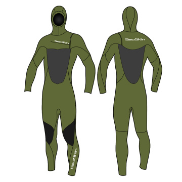 Seaskin 5/4mm Men's Hooded Chest Zip Wetsuit