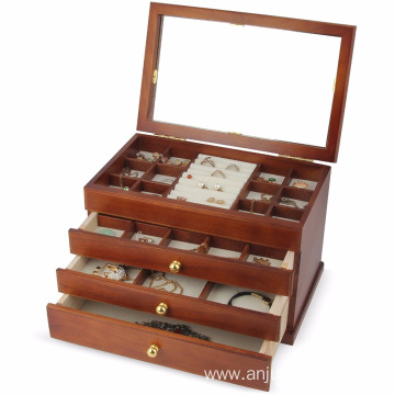 Real wood Wooden Jewelry Box Case