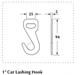 1 Inch Car Lashing Hook with 2000KG Capacity