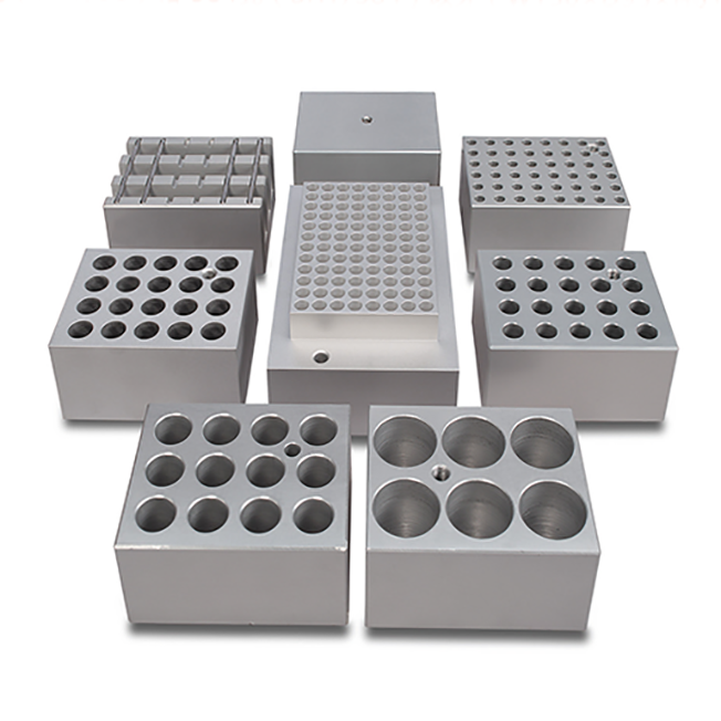 machining aluminum test tube heating block