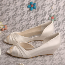 Peep Toe Wedge Wedding Shoes