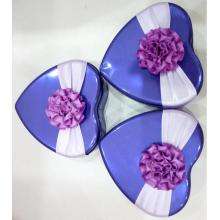 Purple Chocolate Tin Box with Flower Decoration