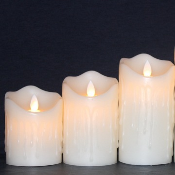 Real wax remote controal battery operated flameless led pillar candles