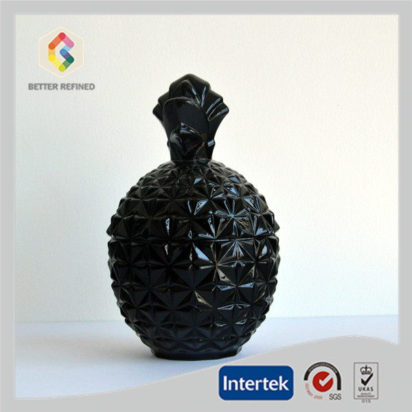 black pineapple glass jar