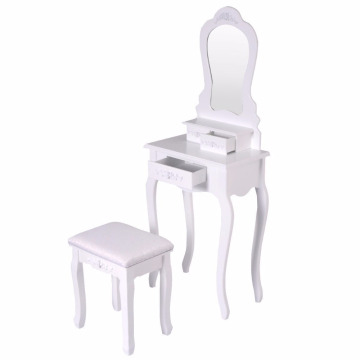 Round Mirror 4 Drawers White Bathroom Vanity Dressing Table Set Mirror with Stool