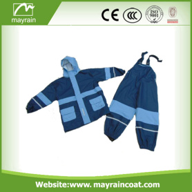 Waterproof Reflective Polyester Kids Rainsuit