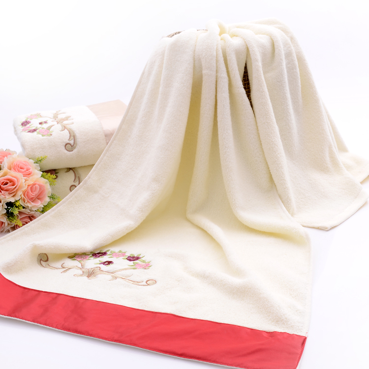 Towels with Elegant Silk Patch