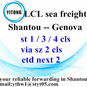 Good Quality for LCL Consolidators Shantou to Genova Ocean Shipping timetable supply to France Factory
