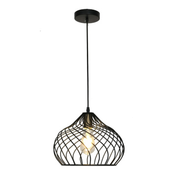 Black Hanging Light Canopy Wire Cage Pendant Lamp