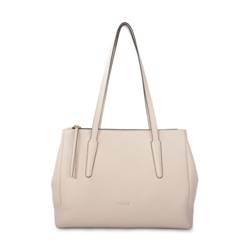 Thick Beige Leather Large Handbag Monogram Tote
