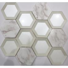 Cold Spray Hexagon Glass Mosaic Tile